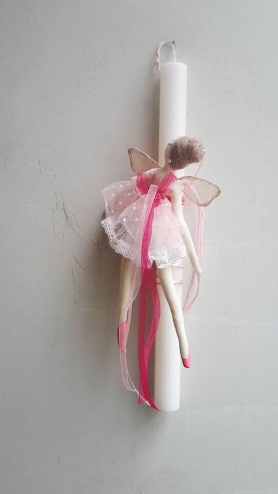 Ballerina Easter candle, white candle with pink ballerina plushie, Greek Easter candle for girls and teen girls, stuffed ballerina lambada