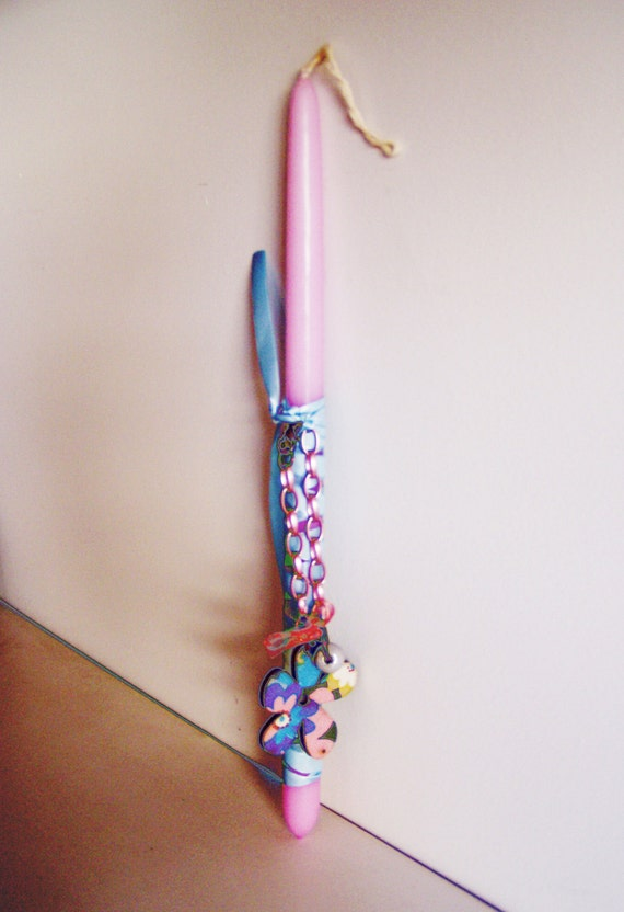 Greek Easter candle for girls, cyclamen  pink candle with pink chain and flower bracelet