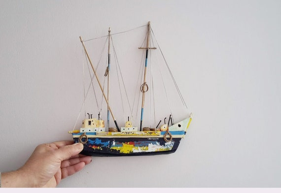 Wooden Greek sailboat, colourful sailboat of wood, metal, twine, etc, completely handmade, navy blue sailboat, wooden sailboat wall hanging