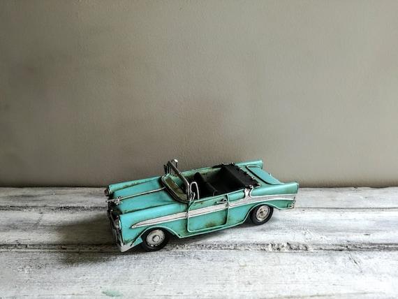 Sky blue convertible Chevrolet miniature, vintage tin Chevy, collectible miniature Chevy, Chinese, antique car replica, early nineties