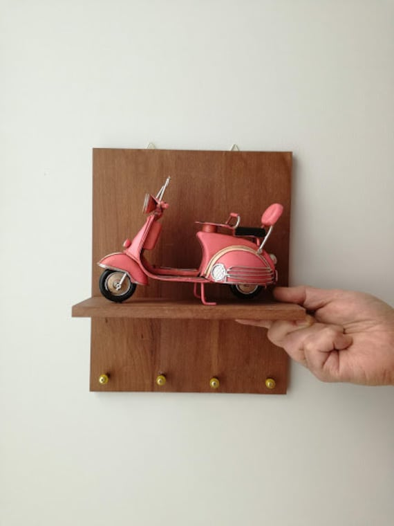 Pink scooter key organiser, wooden board with pink scooter and key holders, office and home key hanger, pink bike diorama with key hangers