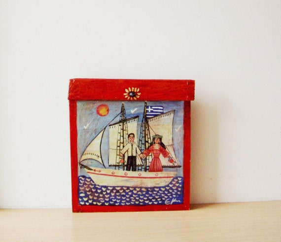 Man woman folk painting, vintage folk painting of couple on sailing boat, folk painting on reclaimed wood, Greek folk wedding