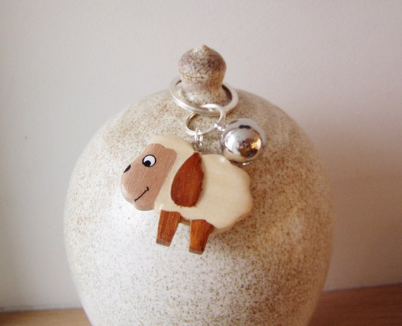 Wooden sheep keychain, smiling sheep in profile with silver ball bell, Year of the Sheep, unisex key ring, funny sheep and bell keychain