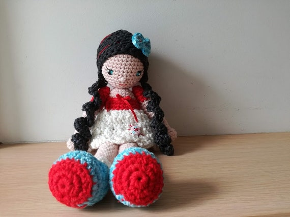 Vintage amigurumi doll, large crochet doll in red white dress and black braids, unique red white blue amigurumi doll, cute crochet doll