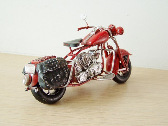 Red motorcycle miniature, retro collectible miniature of red, vintage motorbike with black saddlebags on the sides, boho motorbike gift