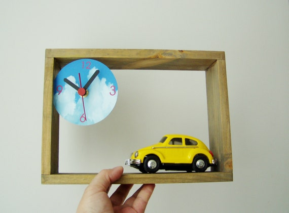 Wooden clock with bug car miniature, wooden frame for desk or wall with clock dial and collectible, toy bug car clock in yellow