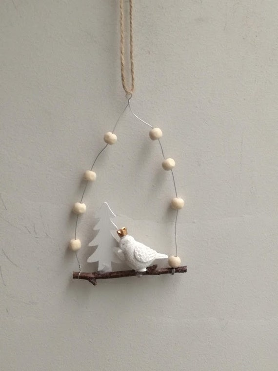White bird ornament, Xmas tree bird ornament, bird on swing with tree and white beads, unique quirky Xmas ornament