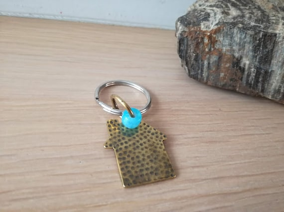Brass house key ring, brass house key chain, hammered oxidised house charm and sky blue bead on alloy key ring