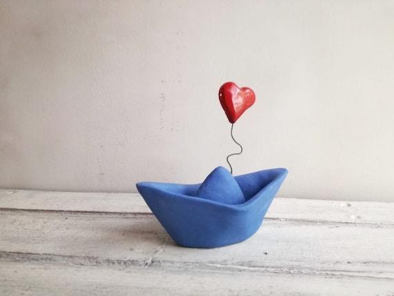 Blue paper boat, porcelain paperboat with red heart, handmade handbuilt Greek boat, blue boat favours, boho blue porcelain boat and heart
