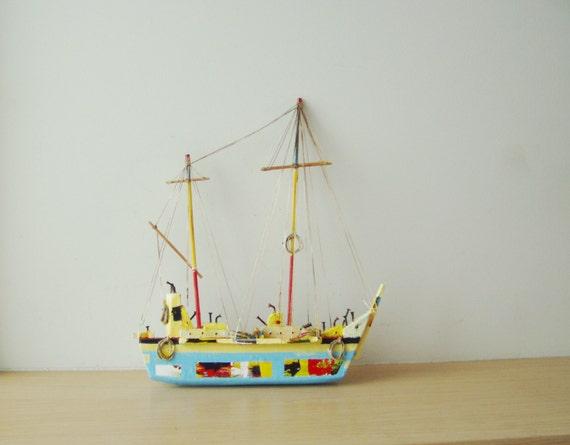 Sky blue sailboat sculpture, two masts wooden sailboat sculpture, colourful Greek sailboat, wall sculpture, Greek folk art, rustic boat