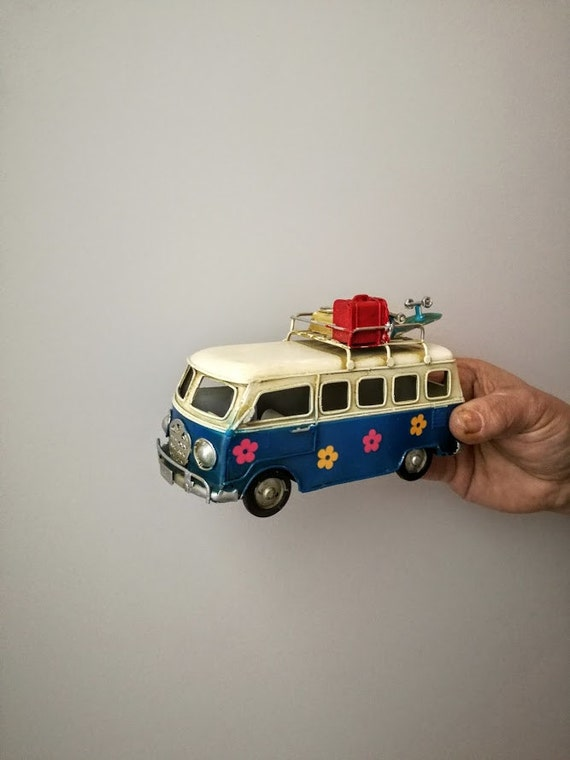 Retro van miniature, hippie van in royal blue and creamy white with painted flowers and suitcases on baggage rack, collectible van miniature