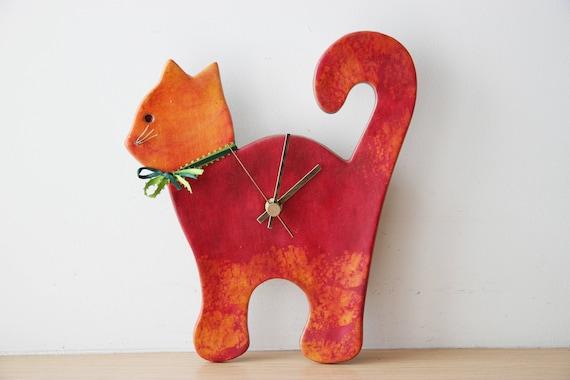 Red cat wall clock, ceramic wall clock of red and orange cat, unique, handpainted, red cat clock, nursery clock, vet's clock, red cat decor
