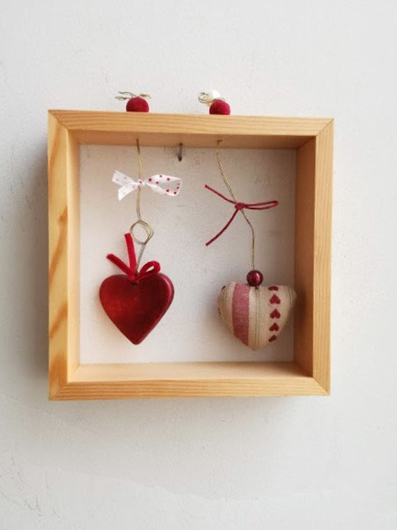 Two hearts wall hanging, wooden frame with ceramic and plushie hearts, two hearts diorama in wooden shadow frame, boho Valentine's gift