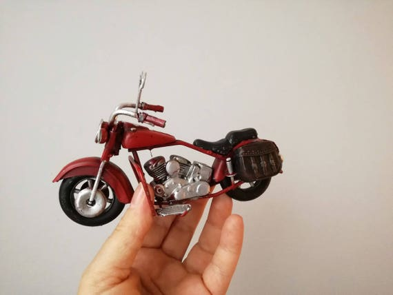Scarlet red bike, vintage, retro collectible, Harley type miniature motorbike, alloy, miniature bike, shabby style red Harley motocycle