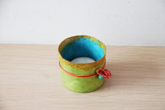 Tea light candle holder, ceramic candle holder, green candle holder, multi colour, tea light holder, hand painted, boho decor