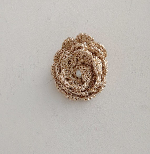 Gold rose brooch, gold crochet brooch, beige khaki, frilly flower brooch with faux pearl, boho hippie accent jewelry pin, romantic brooch