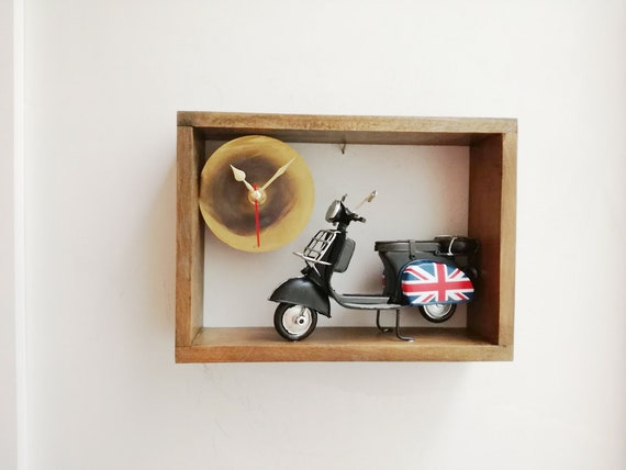 Black scooter clock, wooden frame clock with black scooter, collectible miniature, Union Jack flag scooter clock, British flag scooter