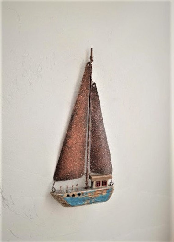 Rusty sailboat wall hanging, driftwood style decoraive boat, metal and wood rusty sails decorative boat