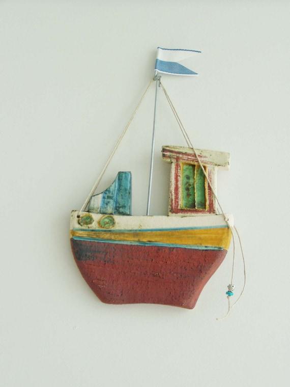 Ceramic fishing boat, wall decor ceramic boat, Greek fishing boat with blue white flag, fishing boat wall hanging, colourful rustic boat