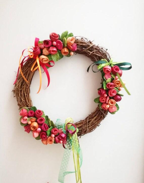 Red roses wreath, colourful ceramic roses, boho wreath, unique handmade, handpainted wreath of red and orange roses, rustic decor wreath