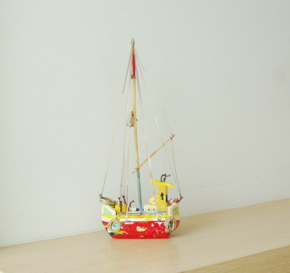 Red sailboat miniature, colourful sailboat of wood, metal, twine, etc, completely handmade and unique, Greek rustic sailboat, folk art boat