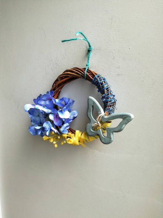 Blue butterfly wreath, butterfly and hydrangea wreath, flowers with butterfly and yellow ribbon door wreath, small wicker wreath