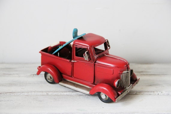 Scarlet pick-up miniature, retro style, collectible truck miniature with surfboard and life saver, red truck miniature with blue surfboard