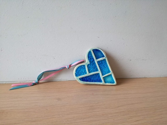 Blue heart wall hanging, ceramic blue heart for the wall, rustic boho heart, handbuilt heart wall hanging with cracked glaze