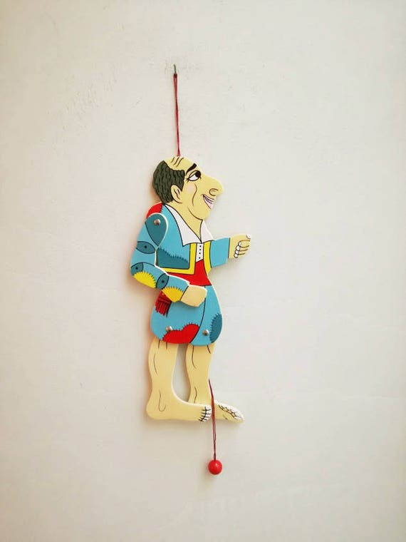 Vintage Karagiozis puppet, wooden Karagiozis wooden puppet, colourful Greek shadow theater marionette, Karagiozi wooden puppet toy