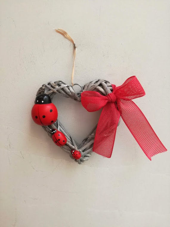 Ladybugs wreath, heart shaped, wicker wreath with three ladybugs and red bow, spring wreath for door or wall, grey black an red wreath