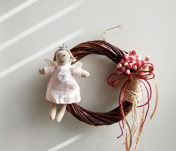Pink angel wreath, baby angel wreath, brown wicker wreath with fabric, baby angel plushie, pink angel and coral flowers wreath, rustic angel