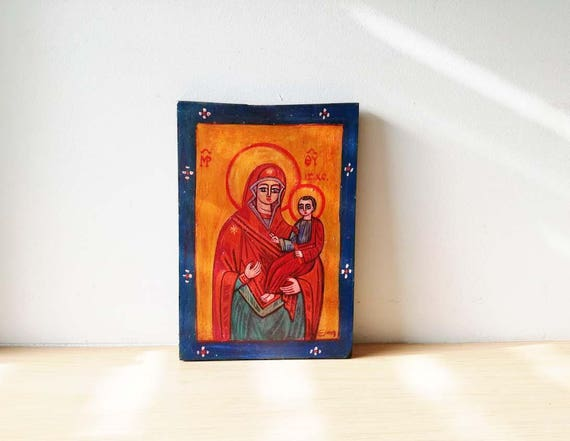 Virgin Mary icon, vintage, folk icon of Virgin Mary and Child, salvaged wood folk painting, Greek folk art icon, late eighties