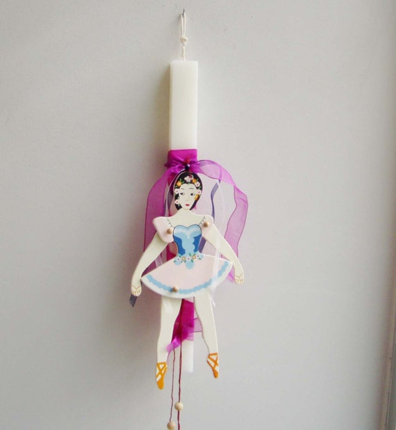 Greek Easter candle with ballerina marionette, square, white candle with pink, blue and white wooden ballerina marionette, Greek Lambada
