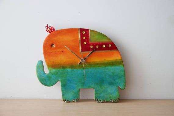 Elephant wall clock, ceramic wall clock of turquoise blue, green and orange elephant, hand painted, elephant clock, nursery clock