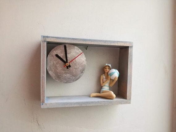 Girl swimmer clock,  retro girl swimmer with ball, resin sculpture in wooden frame clock, unique clock of retro lady swimmer with  ball