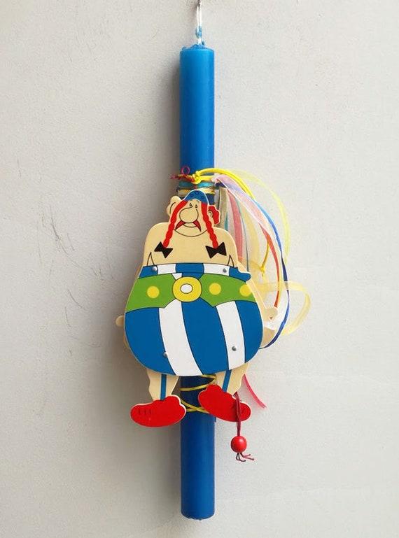 Obelix marionette Easter candle, blue Greek Easter candle with vintage, wooden Obelix puppet, movable parts, Obelix, Greek lambada for kids
