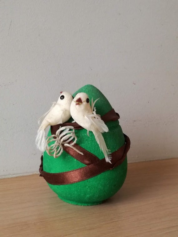 Green Easter egg with two white doves, vintage, green ceramic egg with white doves miniatures and brown ribbon, green egg with birdies