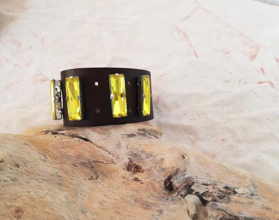 Brown leather cuff, leather and yellow crystals cuff, adjustable leather bracelet, boho leather crystals cuff, accent jewelry leather cuff
