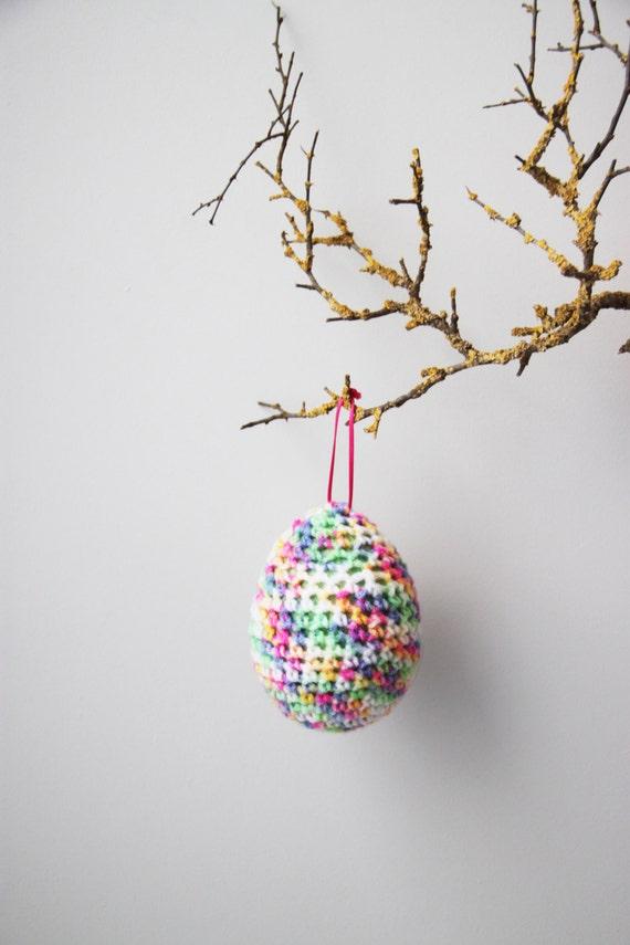 Crochet Ester eggs, spring colours Easter egg,multicolor knit egg, Easter decorations, Easter gifts, large, hanging, Easter egg