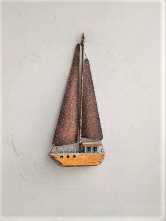 Wooden sailboat wall hanging, metal and wood decoraive boat, driftwood style rusty sails boat art object
