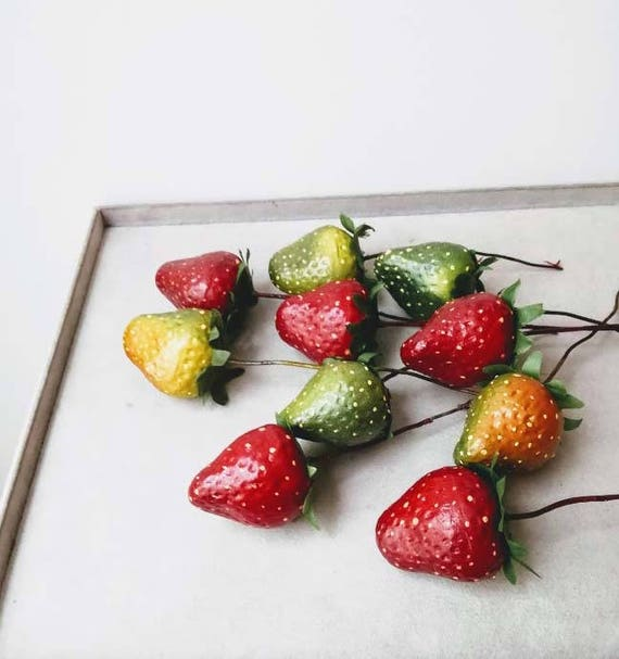 Strawberries with wire stem, polyester strawberries for wreaths and craft making, life size,  red and geen strawberries supplies, set of ten