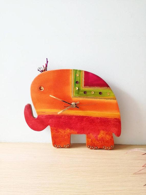 Elephant wall clock, ceramic wall clock of red and orange elephant, hand painted, elephant clock, red elephant nursery clock, boho elephant