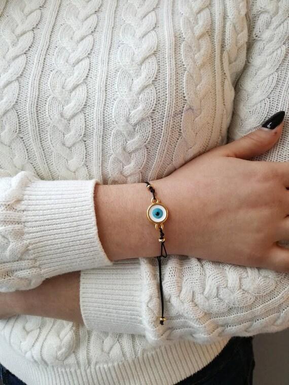 Blue eye bracelet, brass and enamel, round blue eye on black cord, blue eye macrame bracelet, eye friendship bracelet, eye boho cuff