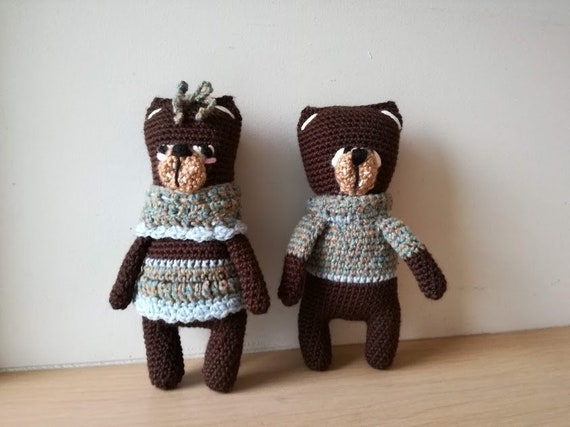 Amigurumi teddy couple, crochet stuffed teddy bears, crochet bear couple, boy girl teddy dolls, girl  and boy bear art dolls, set of two.