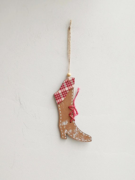 Wooden bootie ornament, natural wood bootie with red laces, Xmas tree ornament, brown girls' bootie, rustic Christmas tree ornament