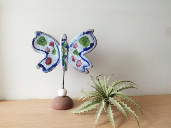 Ceamic butterfly sculpture, blue green, ceramic butterfly on iron stem, handbuilt butterfly on terracotta clay base, wall butterfly