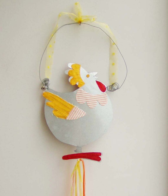 Easter chicken wall hanging, tin chicken cutout with red and orange fabric parts, wire hoop and organza ribbons, vintage Easter decor