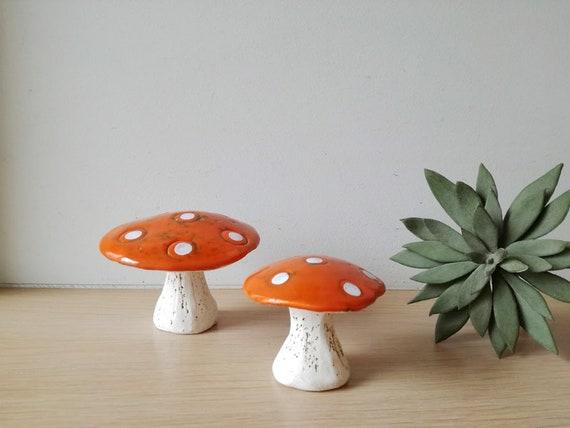 Ceramic mushrooms, orange white toadstool mushrooms, rustic toadstool mushrooms, life size decorative mushrooms, set of two mushrooms