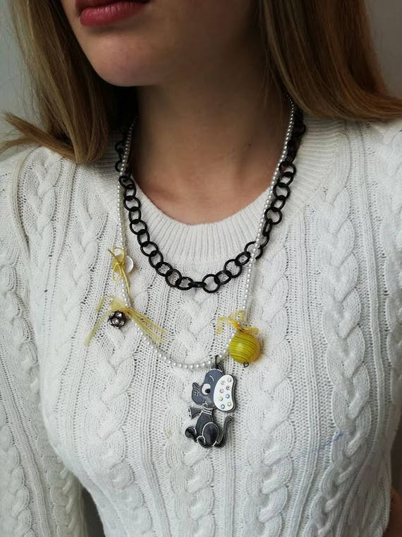 Black doggie necklace, white and black necklace, accent jewelry necklace with doggie pendant, faux pearls and black chain, unique necklace