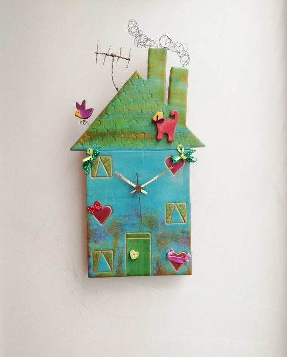 Green house clock, colourful ceramic house clock, house shaped wall clock, blue green, three storey house clock with antenna and wire smoke